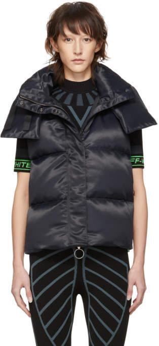 Black Down Apron Short Gilet Vest