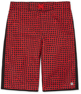 Trunks Xersion Red Grid Swim Trunk - Boys 4-20 & Husky