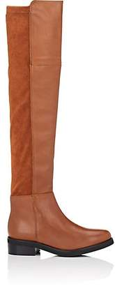 Barneys New York WOMEN'S LEATHER & FAUX-SUEDE OVER-THE-KNEE BOOTS - BEIGE/TAN SIZE 7