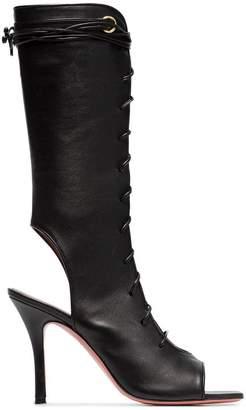 Amina Muaddi Geisha Gladiator 95 lace up leather sandals