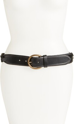Frye Studded Woven Leather Belt