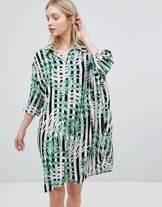 QED London Stripe Leaf Print Shirt Dress