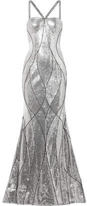 Naeem Khan Embellished Tulle Gown - Silver