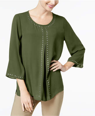 JM Collection Stud-Trim Inverted Pleat Top, Created for Macy's