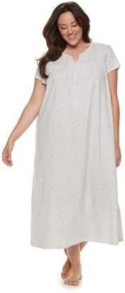 Croft & Barrow Plus Size Smocked Long Nightgown