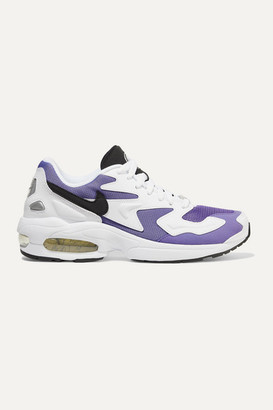 Nike Air Max2 Light Mesh, Faux Leather And Suede Sneakers - Lavender