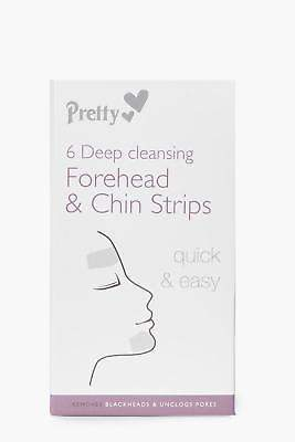 boohoo NEW Womens 6 Forehead And Chin Nose Pore Strips in Clear size One Size