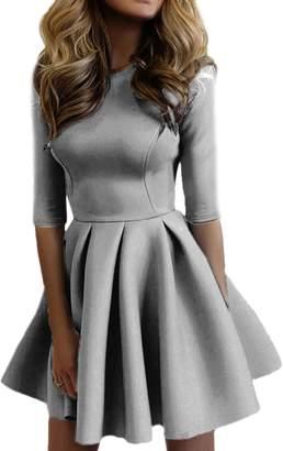 Sevozimda Women Casual Scoop Neck 3/4 Sleeve Slim Sweater Skater Swing Mini Dress L