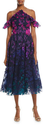 Marchesa Ombre Floral Cold-Shoulder Embroidered Cocktail Dress