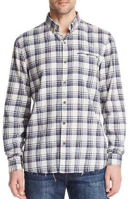 Joe's Jeans Frayed Plaid Long Sleeve Button-Down Shirt