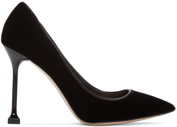 Miu Miu Black Velvet Decollete Heels