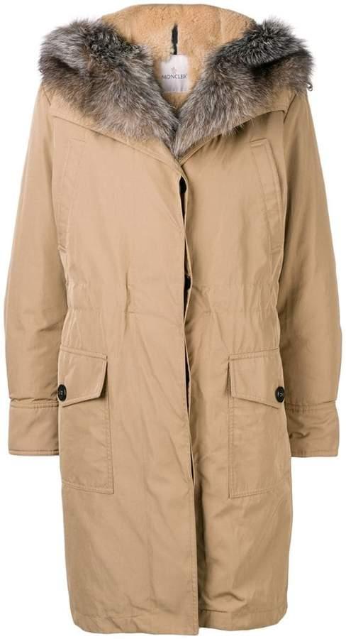 zipped hooded parka coat