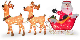 """clear National Tree Company 34"""" Santa and Reindeer with Lights"""