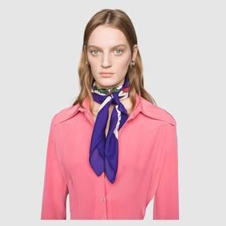 Gucci Flora Tiger print silk scarf