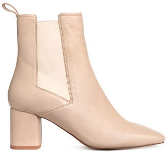 H&M Leather ankle boots - Beige