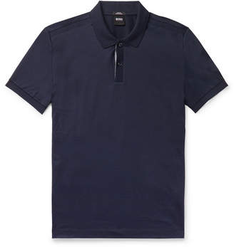 HUGO BOSS Slim-fit Contrast-tipped Cotton Polo Shirt - Navy
