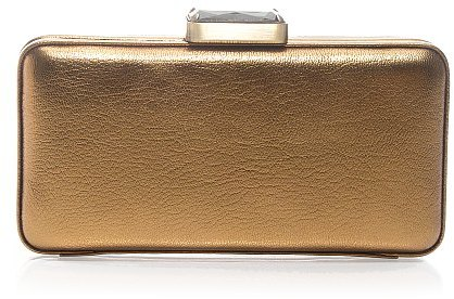Metallic-leather minaudière