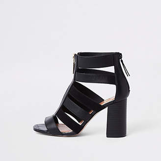 River Island Black caged block heel shoe boots