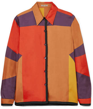 Bottega Veneta Printed Silk-faille Shirt - Orange