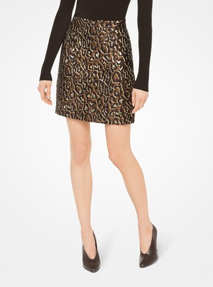 Michael Kors Metallic Leopard Jacquard Skirt