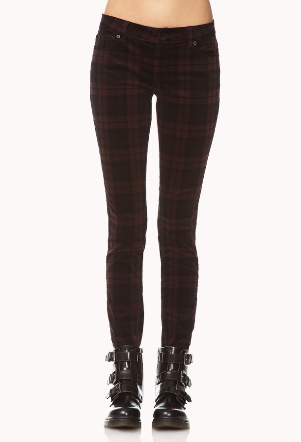 Forever 21 Plaid Corduroy Skinny Pants