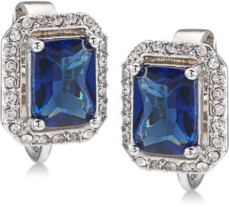 Carolee Silver-Tone Pave & Blue Stone Clip-On Stud Earrings