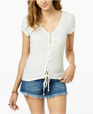 Juniors' Lace-Up Rib-Knit T-Shirt