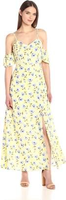 Blu Pepper Women's Cold Shoulder Floral Print Dress with Side Leg Slit