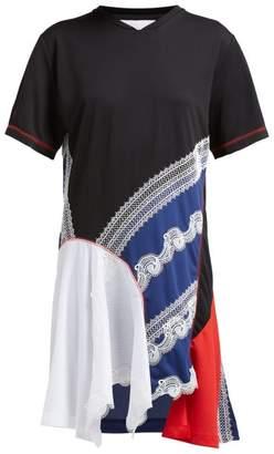 Koché Koche - Asymmetric Panelled Lace Embellished T Shirt Dress - Womens - Black Multi