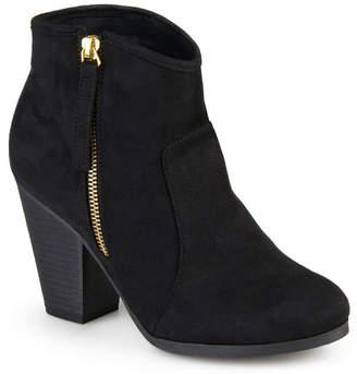Journee Collection Womens Link-Wd Bootie Stacked Heel Zip Wide