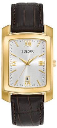 Bulova Analog Rectangle Dial Stainless Steel Leather Strap Watch