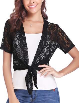 bd97c336eb0a Abollria Women Short Sleeve Floral Lace Shrug Open Front Bolero Cardigan