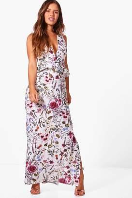 boohoo Petite Penny Floral Ruffle Detail Maxi Dress