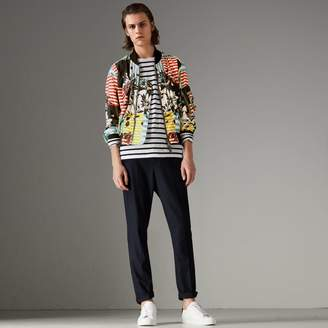 Burberry Floral Stripe Print Bomber Jacket , Size: 46, Blue