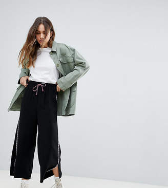Reclaimed Vintage Inspired Drawstring Crop Trouser With Side Stripe