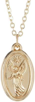 Best Silver Inc. 14K Gold Oval Angel Medallion Necklace