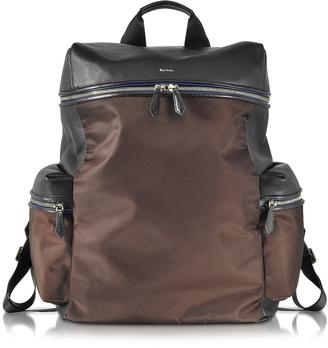 Black Nappa and Brown Nylon Men's Rucksack w/Side Pockets