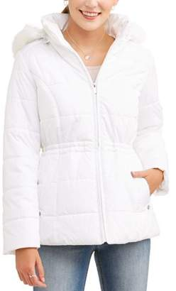Weathertamer WEATHER TAMER Women's Quilted Puffer Jacket with Faux Fur-Trim Hood
