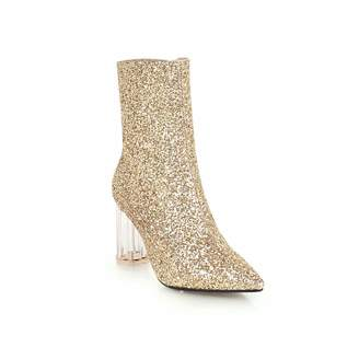wetkiss 2018 Fashion Transparent Heels Ankle Bootie Glitter Women Boots high Heel Party Shoes Woman Winter Boot