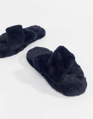 Neve ASOS DESIGN Cross Strap Slider Slippers
