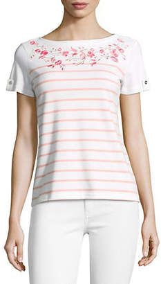 Karen Scott Petite Floral Embroidery Stripe Top