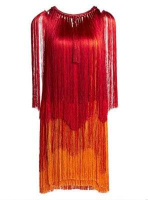 Alberta Ferretti Log Sleeve Fringe Dress