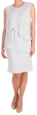 Chesca Lace Trim Chiffon Layered Dress, Silver Grey