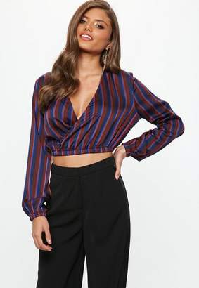 Missguided Navy Multi Coloured Stripe Wrap Crop Top