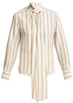 Chloé Striped Silk Blouse - Womens - Brown Stripe