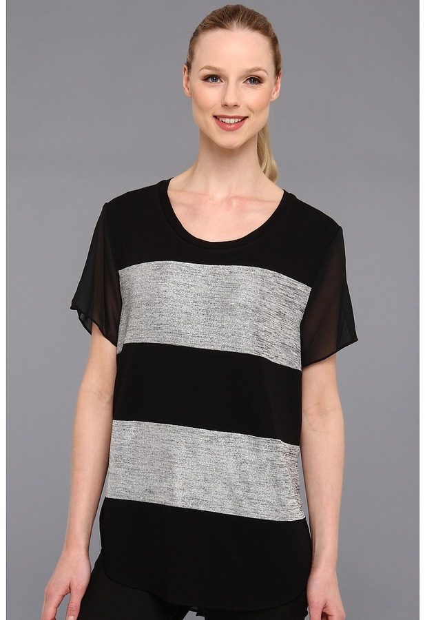 Vince Camuto Blocked Style Tee (Foggy Heather) - Apparel