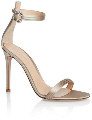 Gianvito Rossi Jeweled Buckle Satin Sandal