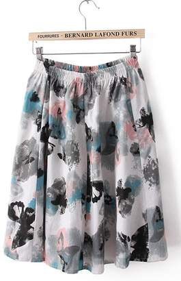 Azue Reto Polka Flared Stretch High Waist Casual Mini Swing Skirt Floral Knee-Length Dress