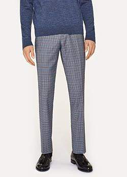 Paul Smith Men's Slim-Fit Two-Tone Navy And Brown Check Wool Trousers