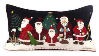 New World Arts Five Santas Accent Pillow